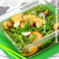 南瓜尖大蝦湯