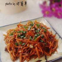 胡蘿卜炒肉絲的做法