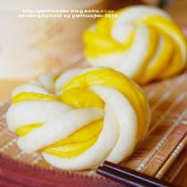 南瓜雙色花捲饅頭