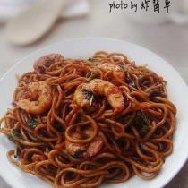 香椿蝦仁炒麵