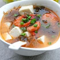 紫晶藻鮮蝦豆腐湯