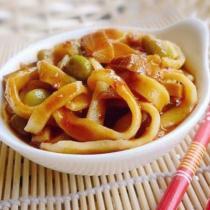 杏鮑菇青豆醬手搟麵