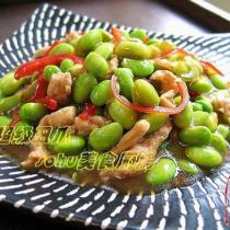 毛豆紅椒炒肉絲的做法