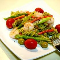 綠醬蝦球螺絲麵