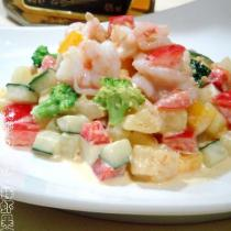 鮮蝦果蔬沙拉的做法