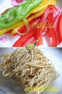 彩椒豆腐絲的做法圖解2