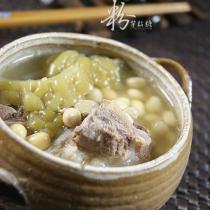 涼瓜黃豆扇骨湯