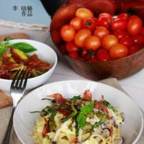 奶油蟹味菇炒義麵