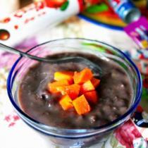 椰香木瓜紅豆沙冰