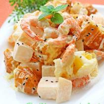 水果蝦仁油條沙拉