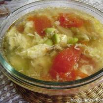 番茄榨菜毛豆子蛋湯