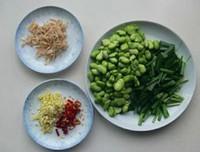 韭菜蝦米炒蠶豆的做法圖解1
