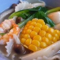 蝦湯玉米蘑菇麵